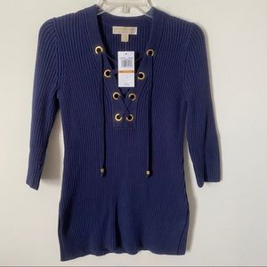 NWT Michael Michael Kors true Navy ribbed sweater